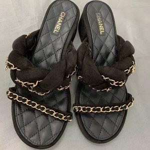 Chanel block heels sandals size 36
